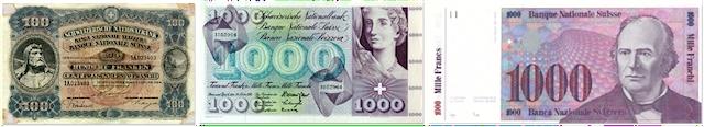 Der Schweizer Franken änderte sich im Laufe der Geschichte auch optisch.(Foto: SNB)