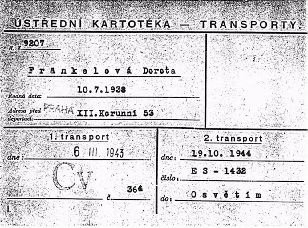 Transportkarte aus dem Jahre 1943 (Foto: H. Wilkes)