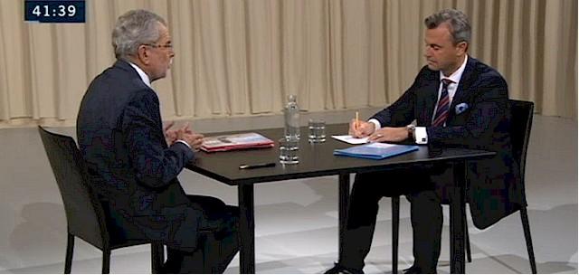 Die beiden Kandidaten Hofer (FPÖ) und Van der Bellen (Grüne)
